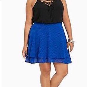 Torrid Polka dot black blue A-line skirt SIZE 24